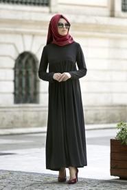 Afra - Yakalı Siyah Elbise 2063S - Thumbnail