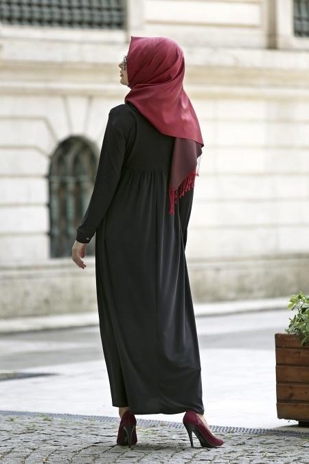 Afra - Yakalı Siyah Elbise 2063S