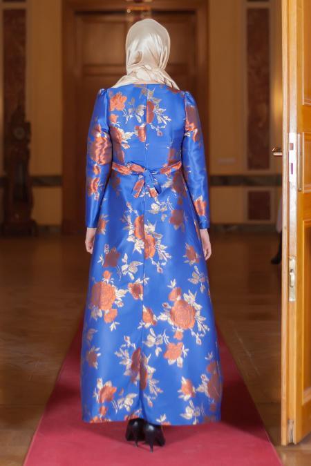 Aramiss - Çiçek Desenli Kiremit Elbise 1704-02KRMT