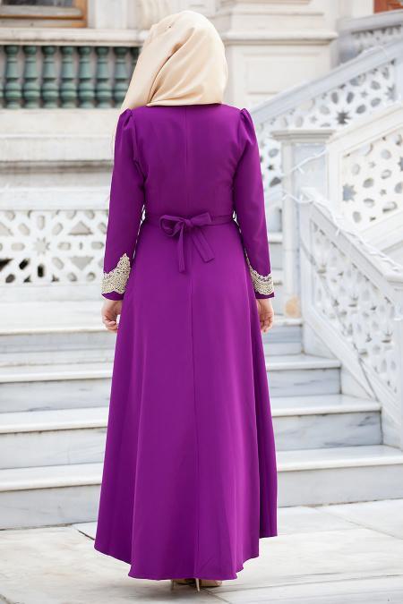 Aramiss - Dantel Detaylı Mor Elbise 4744MOR