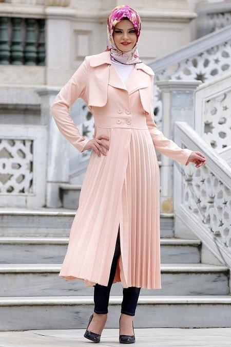 Aramiss - Salmon Pink Hijab Coat 7060SMN