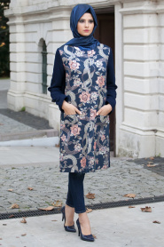 Aşiyan - Flower Patterned Navy Coat 2260L - Thumbnail