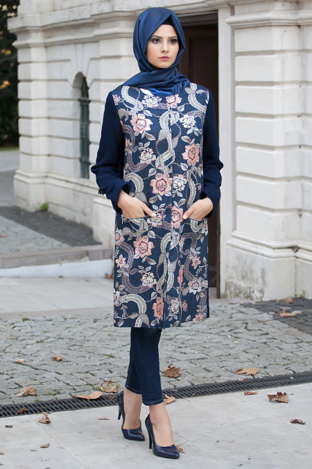 Aşiyan - Flower Patterned Navy Coat 2260L