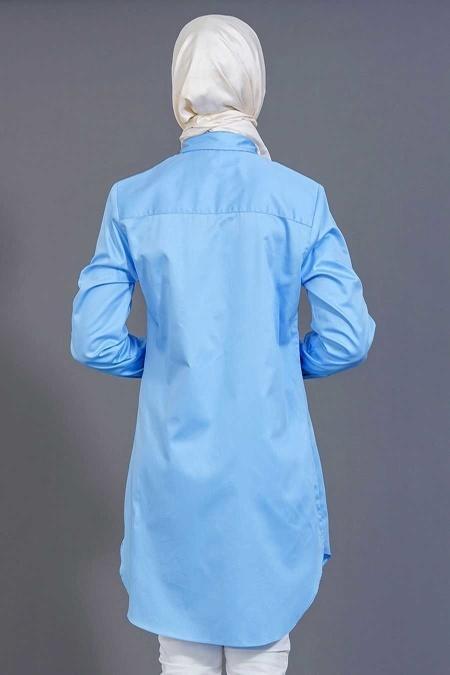 Bislife - Düğmeli Mavi Tesettür Gömlek 6201M
