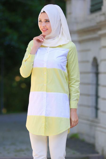 Bislife - Sarı / Beyaz Tesettür Gömlek 6131SR