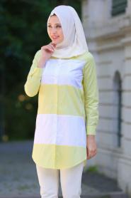 Bislife - Sarı / Beyaz Tesettür Gömlek 6131SR - Thumbnail