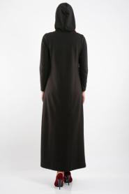 Bwest - Belden Büzgülü Siyah Tesettür Elbise 0133-01S - Thumbnail