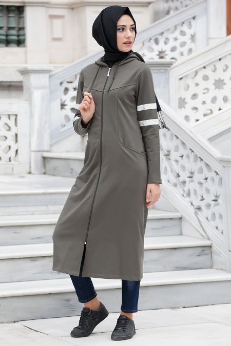 Bwest - Khaki Hijab Coat 1126HK