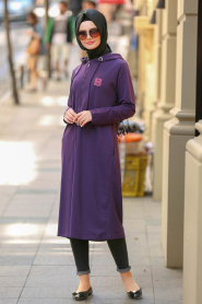 Bwest - Purple Hijab Coat 1480MOR - Thumbnail