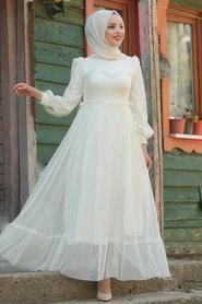 Evening Dress - Ecru Hijab Evening Dress 38730E - Thumbnail