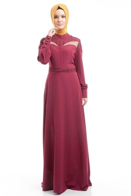 FY Collection - Dantel Detaylı Fuşya Tesettür Elbise 52161F