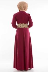 FY Collection - Dantel Detaylı Fuşya Elbise - Thumbnail