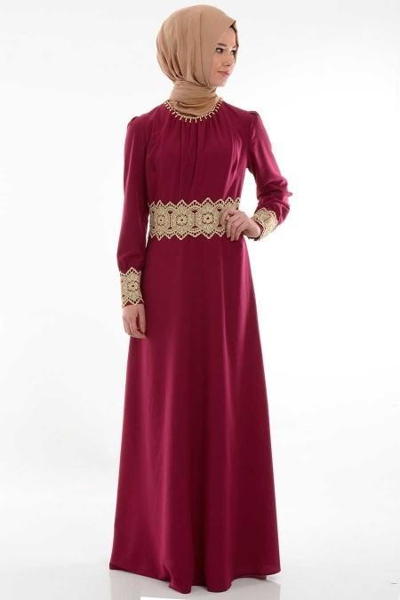 FY Collection - Dantel Detaylı Fuşya Elbise