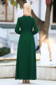 Nayla Collection - Dantel Detaylı Yeşil Tesettür Elbise 51983-01Y - Thumbnail