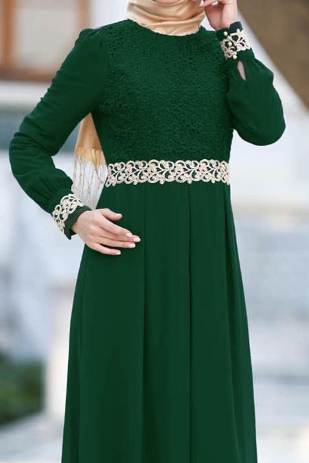 Nayla Collection - Dantel Detaylı Yeşil Tesettür Elbise 51983-01Y