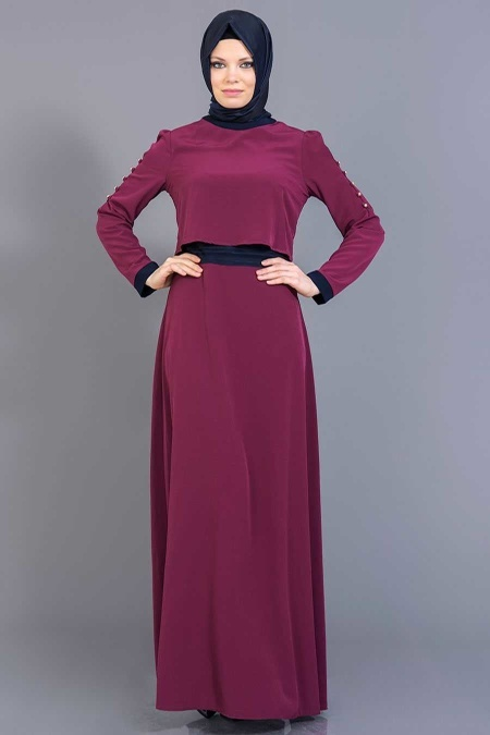 FY Collection - Fuşya/Lacivert Tesettür Elbise 52177FL