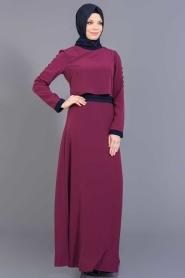 FY Collection - Fuşya/Lacivert Tesettür Elbise 52177FL - Thumbnail