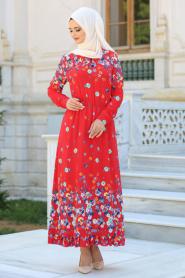 Hewes Line - Çiçek Desenli Beli Büzgülü Kırmızı Tesettür Elbise 590K - Thumbnail