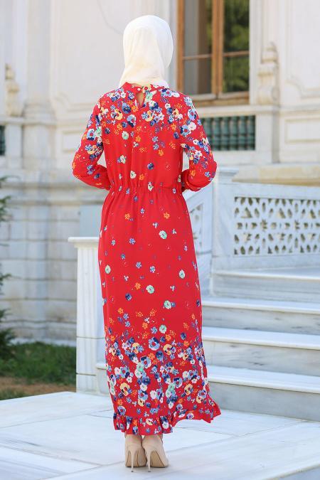 Hewes Line - Çiçek Desenli Beli Büzgülü Kırmızı Tesettür Elbise 590K