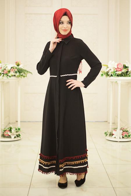 Hewes Line - Eteği Ponpon Detaylı Siyah Tesettür Elbise 567S