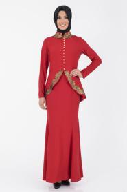 İpekdal - Kırmızı Tesettür Elbise 3769K - Thumbnail