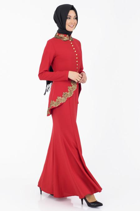 İpekdal - Kırmızı Tesettür Elbise 3769K