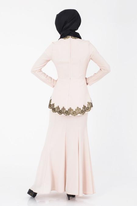 İpekdal - Pudra Tesettür Elbise 3769PD