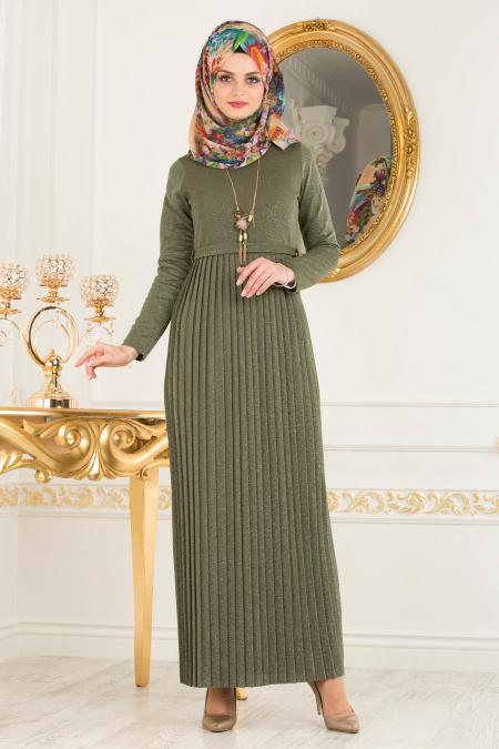 Kaki Nayla Collection Robe Hijab 8244hk Tesetturisland Com