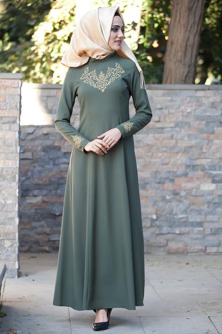 Mahber - Gold Desenli Haki Tesettür Elbise 3000HK