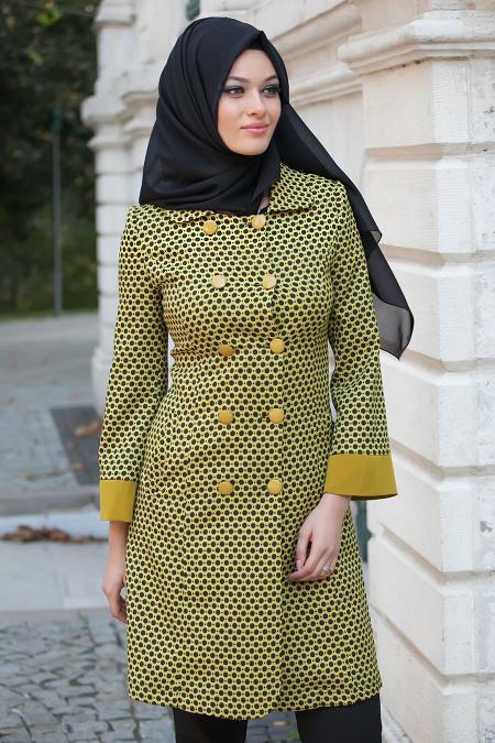 Modesty - Puantiyeli Yeşil Tesettür Kap 5159AY