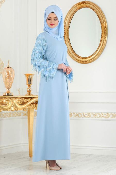 Nayla Colection - Kolları Detaylı Bebek Mavisi Tesettür Abiye Elbise 100348BM