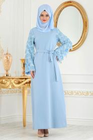 Nayla Colection - Kolları Detaylı Bebek Mavisi Tesettür Abiye Elbise 100348BM - Thumbnail