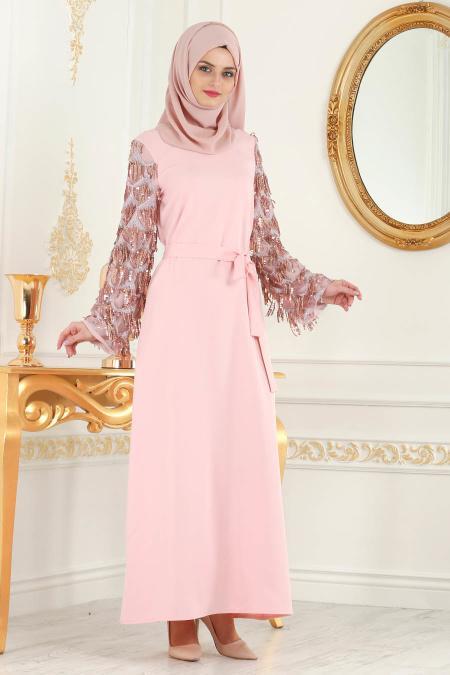 Nayla Collection - Kolları Detaylı Pudra Tesettür Abiye Elbise 100348PD