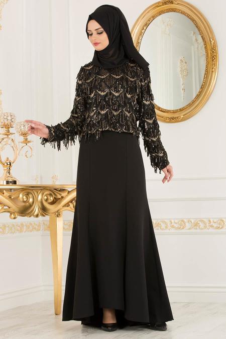 Nayla Colection - Siyah Bluz / Etek Tesettür Abiye Takım 100344S