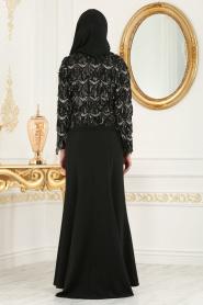 Nayla Colection - Siyah Bluz / Etek Tesettür Abiye Takım 100344S - Thumbnail