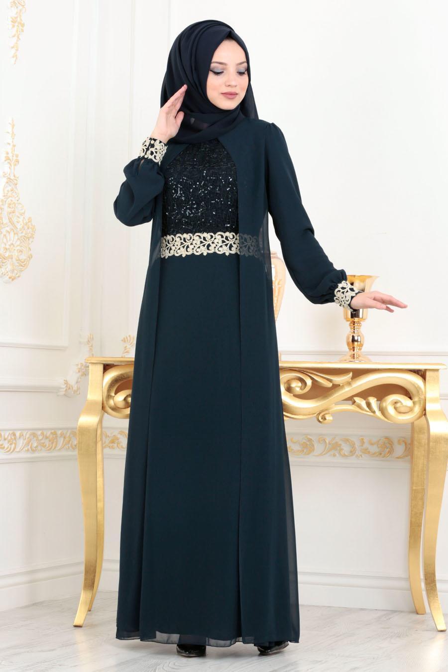 Nayla Collection - Aplikeli Lacivert Tesettür Abiye Elbise 25700L