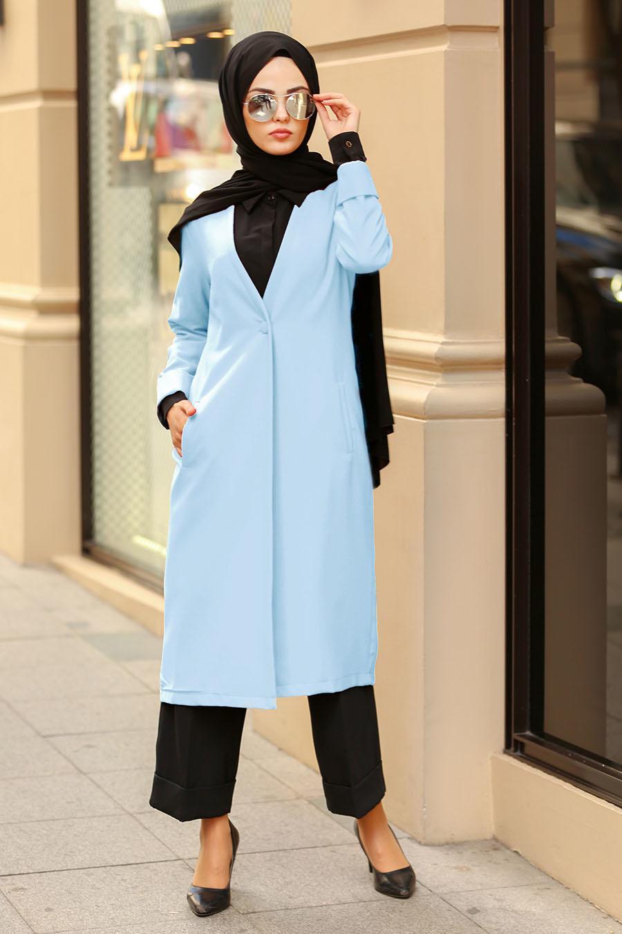 Nayla Collection -Baby Blue Hijab Coat 40230BM