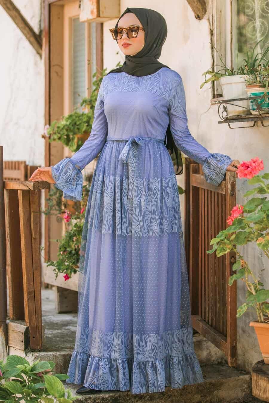 Nayla Collection - Bağcıklı İndigo Mavisi Tesettür Elbise 1306IM