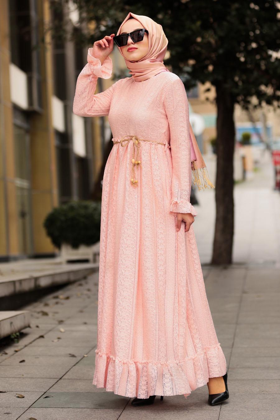 Nayla Collection - Bağcıklı Pudra Tesettür Elbise 3365PD