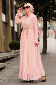 Nayla Collection - Bağcıklı Pudra Tesettür Elbise 3365PD - Thumbnail
