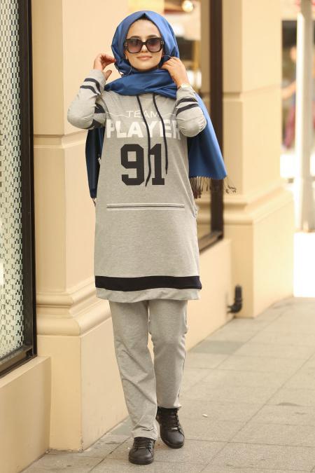 Nayla Collection - Baskılı Kapşonlu Gri Tesettür Spor Takım 8256GR