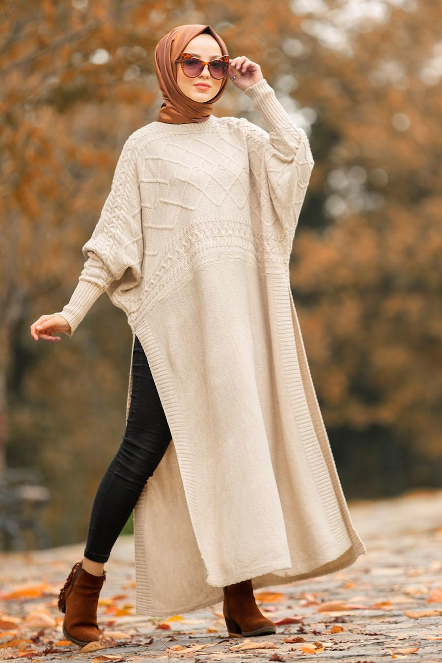 Nayla Collection - Beige Hijab Knitwear Poncho 15598BEJ