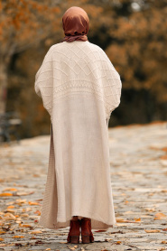 Nayla Collection - Beige Hijab Knitwear Poncho 15598BEJ - Thumbnail