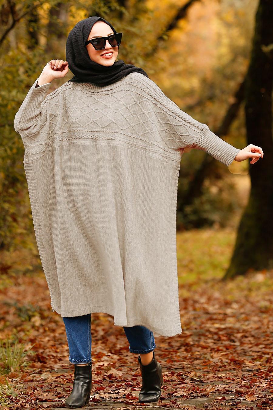 Nayla Collection - Beige Hijab Poncho 21040BEJ