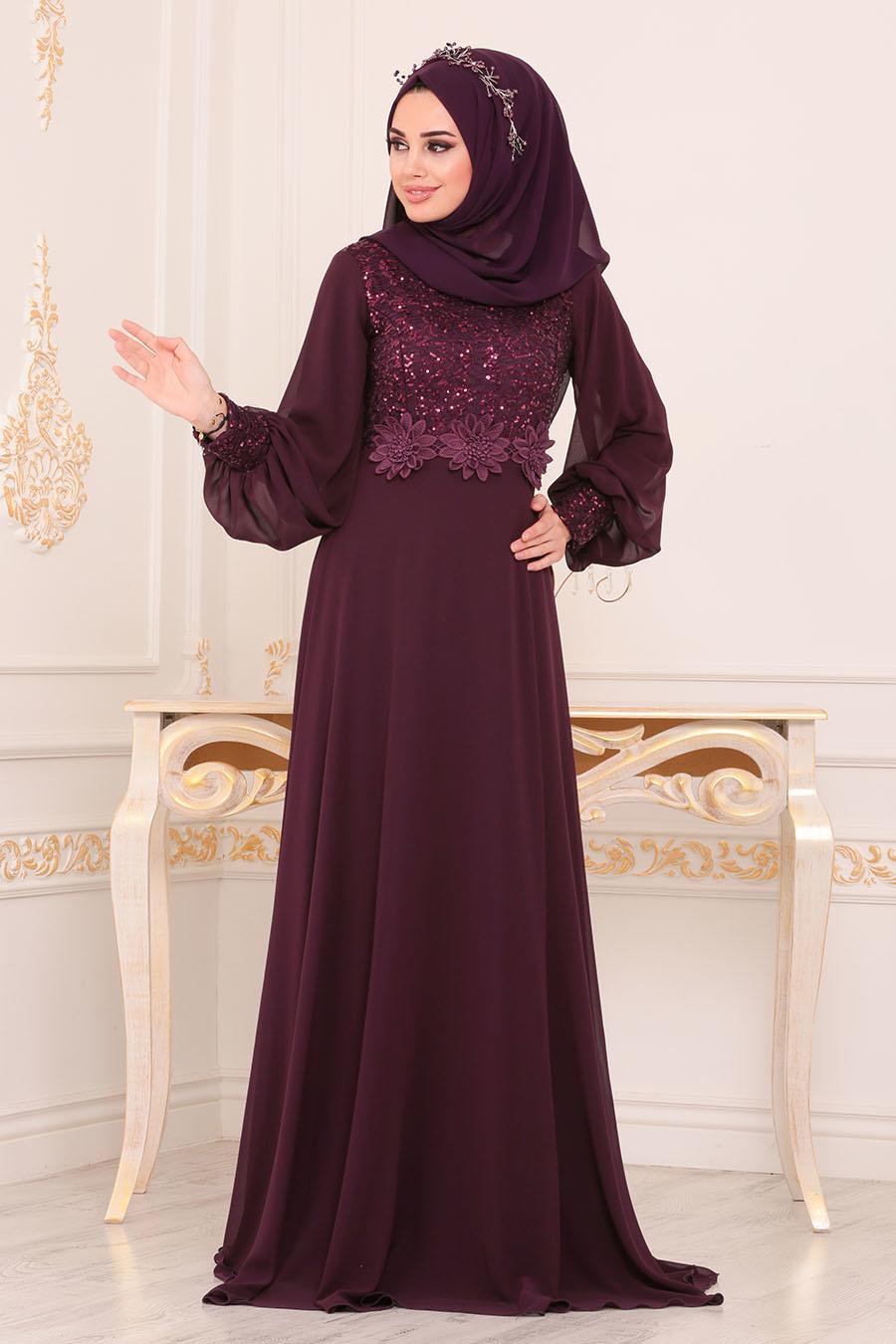 Nayla Collection - Beli Çiçek Detaylı Mürdüm Tesettür Abiye Elbise 9108MU