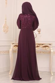 Nayla Collection - Beli Çiçek Detaylı Mürdüm Tesettür Abiye Elbise 9108MU - Thumbnail