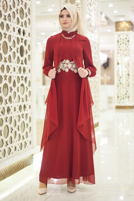 Nayla Collection - Beli Dantel Detaylı Bordo Tesettür Abiye Elbise 52546BR