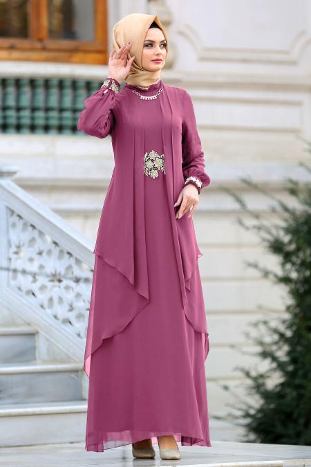 Nayla Collection - Beli Dantel Detaylı Gül Kurusu Tesettür Abiye Elbise 52546GK