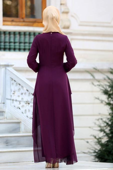 Nayla Collection - Beli Dantel Detaylı Mürdüm Tesettür Abiye Elbise 52546MU