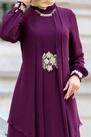 Nayla Collection - Beli Dantel Detaylı Mürdüm Tesettür Abiye Elbise 52546MU - Thumbnail